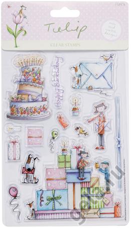 Набор прозрачных штампов С Днем Рождения TULIP 15 шт
